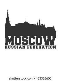 Moscow City concept. Logo. Label. T-shirt design. Creative poster design.