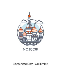 Moscow city flat line color icon with caption. City logo, landmark, vector symbol. Saint Basil's Cathedral. Vector Illustration isolated on white background.