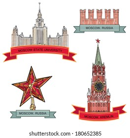 Moscow City Label set. Red brick wall, Spasskaya tower, Moscow State University, Kremlin star. Travel icon vector collection.