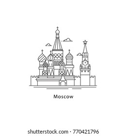 Moscow city logo isolated on white background. Moscow line vector illustration. Traveling to the capital of Russia concept.