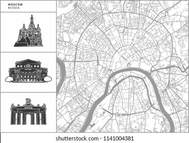 Moscow city map with hand-drawn architecture icons. All drawigns, map and background separated for easy color change. Easy repositioning in vector version.