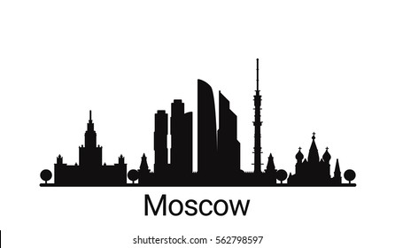 Moscow city outline skyline. All Moscow buildings - customizable objects, so you can simple change skyline composition. Minimal design.