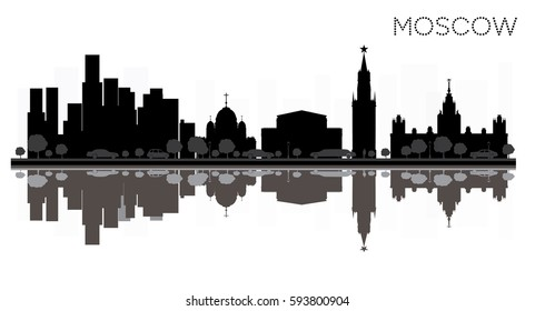 Moscow City skyline black and white silhouette with Reflections. Vector Illustration. Simple flat concept for tourism presentation, banner, placard or web site. Cityscape with landmarks.