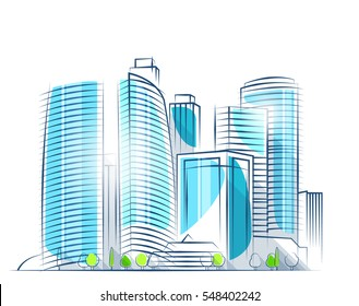 Moscow city skyscrapers. Business center in major city. Moscow skyline. The symbol of business activity in Russia. Urban landscape. Vector illustration. City skyline