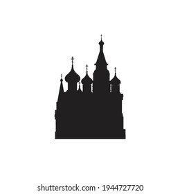 Moscow icon. Russia web silhouette of the symbol. Moscow vector illustration. The capital of Russia with a tourist attraction. St. Basil's Cathedral in Moscow on Red Square