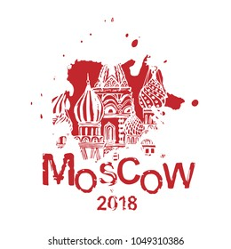 Moscow image with Saint Basil s Cathedral. Vector hand drawn typography illustration. Russian decorative background in black and white color. Useful for travel souvenir, postcard, T-shirt design.