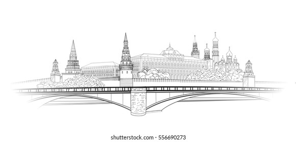 Moscow Kremlin city view sketch. City buildings engraving illustration. Russian urban riverside landscape. Moscow cityscape with landmarks: Kremlin towers, President palace. Travel Russia background