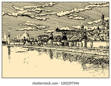 Moscow Kremlin view. Embankment and Moscow River in Moscow, Russia.  Black and white sketch, line art. Dashed style. Poster, calendar, postcard.