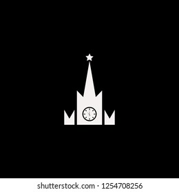 Moscow kremlin watches vector icon. flat Moscow kremlin watches design. Moscow kremlin watches illustration for graphic