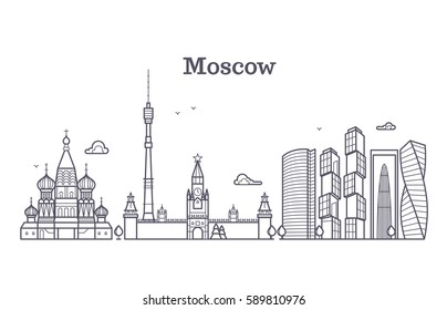 Moscow linear russia landmark, modern city skyline, vector panorama with soviet buildings