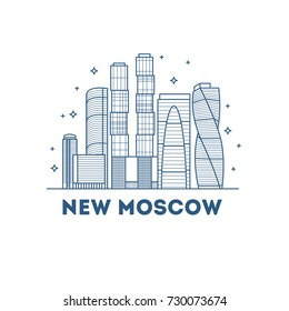 Moscow linear russia landmark, modern city skyline, vector panorama.