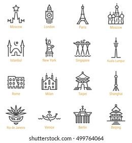 Moscow, London, Paris, Istanbul, New York, Singapore, Kuala Lumpur, Rome, Milan, Taipei, Shanghai, Rio, Venice, Berlin, Beijing Line Vector Icon Set. Linear World Sights Symbols. World Cities series.