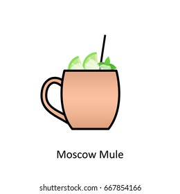 Moscow Mule cocktail icon in flat style. Vector illustration