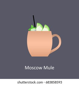 Moscow Mule cocktail icon on dark background in flat style. Vector illustration