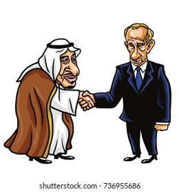 Moscow, October 18, 2017: King Salman and Vladimir Putin Shaking Hands. Vector Cartoon Illustration.