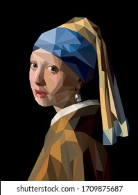 Moscow, Russia - April 21, 2020. Low poly Girl with a pearl earring. Famous paintings. Creative modern vector portrait on black background.
