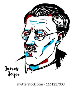 MOSCOW, RUSSIA - AUGUST 21, 2018: James Joyce engraved vector portrait with ink contours. Irish novelist, short story writer, and poet.