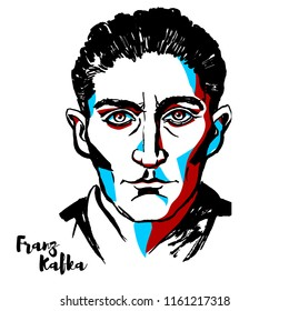 MOSCOW, RUSSIA - AUGUST 21, 2018: Franz Kafka engraved vector portrait with ink contours. German-speaking Bohemian Jewish novelist and short story writer.