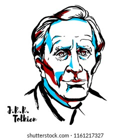 MOSCOW, RUSSIA - AUGUST 21, 2018: J.R.R. Tolkien engraved vector portrait with ink contours. English writer, poet, philologist, and university professor.