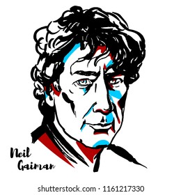 MOSCOW, RUSSIA - AUGUST 21, 2018: Neil Gaiman engraved vector portrait with ink contours. English author of short fiction, novels, comic books, graphic novels, audio theatre, and films.