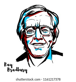 MOSCOW, RUSSIA - AUGUST 21, 2018: Ray Bradbury engraved vector portrait with ink contours. American author and screenwriter.