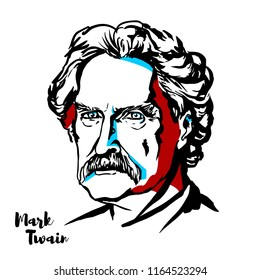 MOSCOW, RUSSIA - AUGUST 21, 2018: Mark Twain engraved vector portrait with ink contours.  American writer, humorist, entrepreneur, publisher, and lecturer.