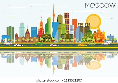 Moscow Russia City Skyline with Color Buildings, Blue Sky and Reflections. Vector Illustration. Business Travel and Tourism Illustration with Modern Architecture. Moscow Cityscape with Landmarks.