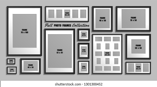 Moscow, Russia - December 10, 2018: Full collection of black photo frames. Real sizes. Vector set of picture frames with white passepartout