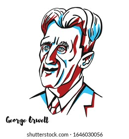 MOSCOW, RUSSIA - February, 01, 2020: George Orwell engraved vector portrait with ink contours. English novelist and essayist, journalist and critic.