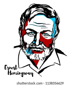MOSCOW, RUSSIA - JUNE 25, 2018: Ernest Hemingway engraved vector portrait with ink contours. American novelist, short story writer, and journalist.