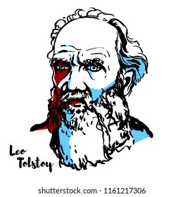MOSCOW, RUSSIA - JUNE 25, 2018: Leo Tolstoy engraved vector portrait with ink contours. Russian writer who is regarded as one of the greatest authors of all time.