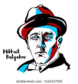 MOSCOW, RUSSIA - JUNE 25, 2018: Mikhail Bulgakov engraved vector portrait with ink contours.  Russian writer, medical doctor and playwright.