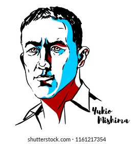 MOSCOW, RUSSIA - JUNE 25, 2018: Yukio Mishima engraved vector portrait with ink contours. Japanese author, poet, playwright, actor, model, film director, founder of the Tatenokai, and nationalist.