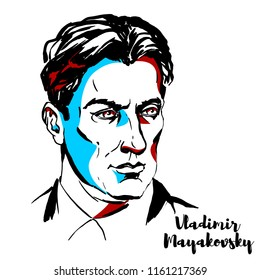 MOSCOW, RUSSIA - JUNE 25, 2018: Vladimir Mayakovsky engraved vector portrait with ink contours. Russian Soviet poet, playwright, artist, and actor.