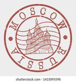 Moscow Russia. Kremlin Palace Silhouette Seal. Round Design. Vector Icon. Design Retro Insignia.