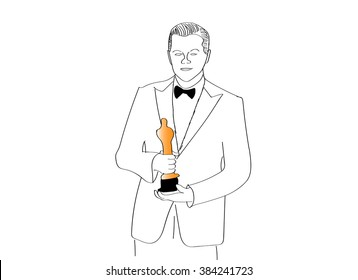 MOSCOW, RUSSIA - MARCH 1: Sketch of Actor Leonardo Dicaprio with the Oscar prize. Oscar statuette. Oscar Ceremony.