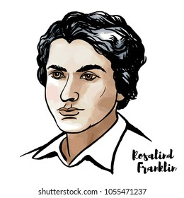 MOSCOW, RUSSIA - MARCH 13, 2018: Rosalind Franklin watercolor vector portrait with ink contours. English chemist and X-ray crystallographer.