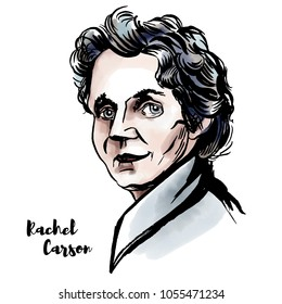 MOSCOW, RUSSIA - MARCH 14, 2018: Rachel Louise Carson watercolor vector portrait with ink contours. American marine biologist, environmentalist and book author.