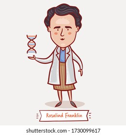 MOSCOW, RUSSIA - MAY 13, 2020: Rosalind Franklin with a DNA structure icon. English chemist. Vector cartoon children illustration. Great Women In History.