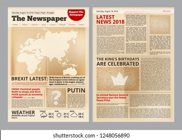 MOSCOW, RUSSIA - NOVEMBER 10, 2018:Old newspaper. Vintage antique paper of magazine pages with editing text and images template vector layout. Newspaper antique with text page illustration