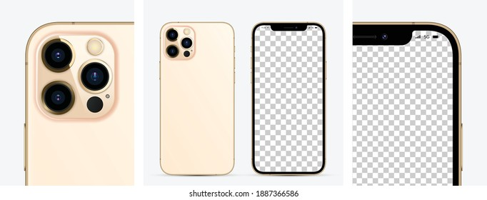 MOSCOW, RUSSIA - NOVEMBER 13, 2020: New iPhone 12 pro max Gold color by Apple Inc. Mock-up screen iphone and back side iphone. Vector illustration