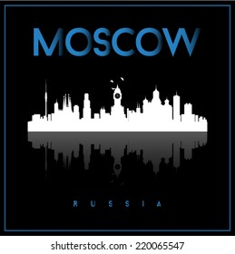 Moscow, Russia, skyline silhouette vector design on parliament blue and black background.