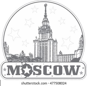 Moscow, Russia - sticker with the building of the Lomonosov's Moscow University on Vorobievy Gory.