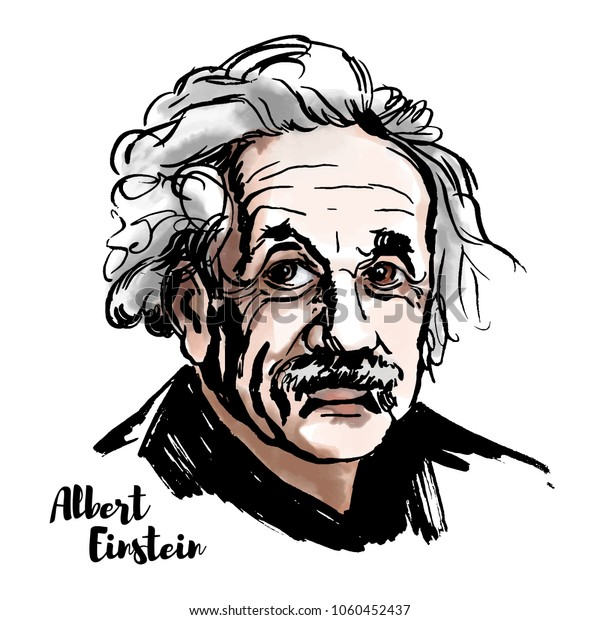 MOSCOW, RUSSIA-MARCH 20, 2018: Albert Einstein watercolor vector portrait with ink contours. The theoretical physicist who developed the theory of relativity, one of the two pillars of modern physics.