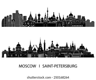 Moscow and Saint Petersburg skyline detailed silhouette. Vector illustration