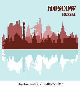 Moscow skyline of buildings and landmarks, Russia. Vector illustration.