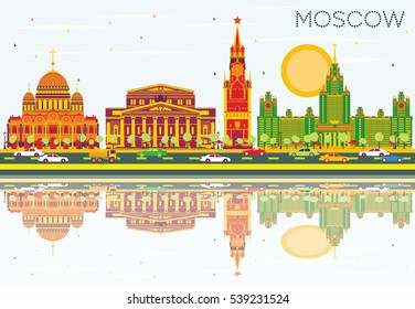 Moscow Skyline with Color Buildings, Blue Sky and Reflections. Vector Illustration. Business Travel and Tourism Concept with Historic Architecture. Image for Presentation Banner Placard and Web Site.