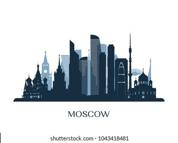 Moscow skyline, monochrome silhouette. Vector illustration.