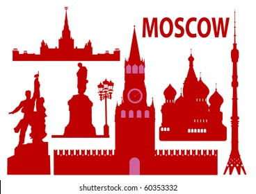 Moscow skyline and symbols. Vector illustration
