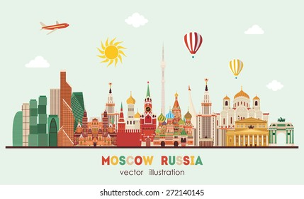 Moscow skyline . Vector illustration